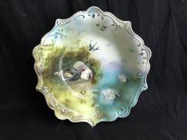 Rare RS Prussia Porcelain Swan Barnyard & Bird Three Pattern Bowl - $321.75