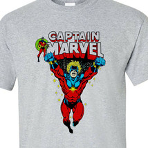 Captain Marvel T shirt vintage comic book superhero 100% cotton graphic tee image 1