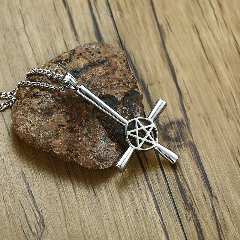 Inverted Cross Pentagram Star Pendant Necklace for Men Stainless Steel Male Jewe