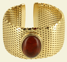 "Vintage Large Gold Tone Mesh Faux Amber Cab Cuff Bracelet 6.25"" Whiting ... - $121.49"