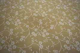 """Justin David Textiles Tan Floral Cotton Linen Drapery Upholstery Fabric 58""""W Yd - $4.95"""