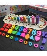 Toys Wooden Montessori Materials Learning Digital Shape Match Education ... - $37.04+