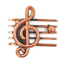 Renoir Vintage Copper Treble Clef Brooch for Music Lovers - $36.00