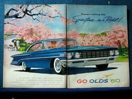1960 Oldsmobile Super 88 2 Pg Ad Springtime In A Rocket!  Cherry Trees I... - $8.06