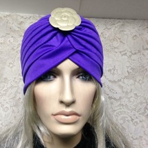 Fabulous Purple Cloche', Turban -Flapper Style Hat with DesignerCamelia ... - $18.95