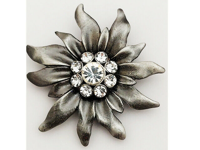 Large Flower with Rhinestone Center Bead, Silver