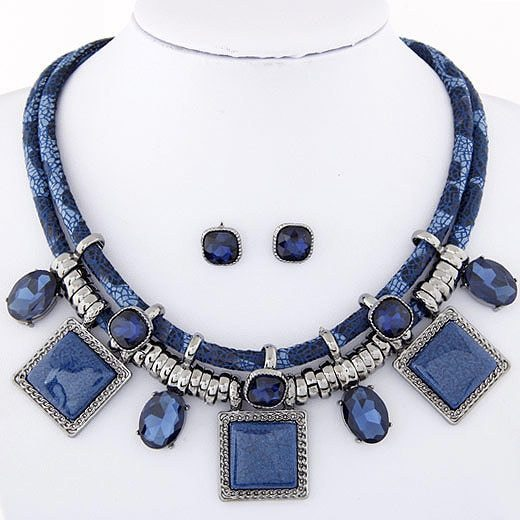 Primary image for Kymyad Collier Femme Geometric Necklaces & Pendants Jewelry Sets Crystal Resin C
