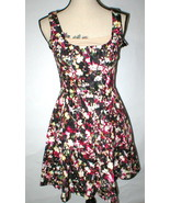 New Womens NWT $158 French Connection Fit Flare Dress Flowers Black Pink... - $44.40