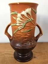 Vtg 40s Roseville Pottery 123-9 Tangerine Freesia Floral Double Handle V... - $119.99