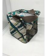 Thirty-One Littles Carry All Caddy Sea Plaid Mini Tote Bag Mesh Pocket - $9.89