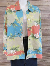Womens National Turquoise Floral Linen Button Down Long Sleeve Jacket LARGE - $24.95