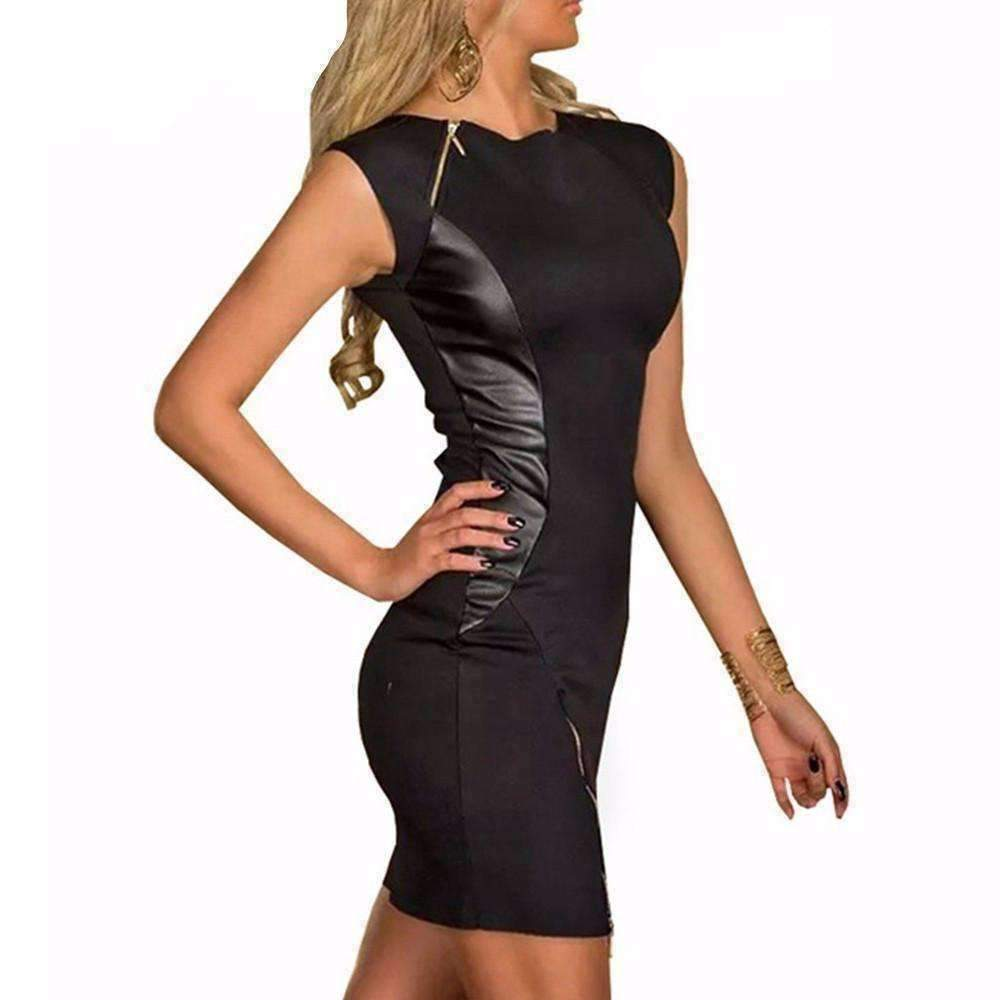 Black Faux Leather Zipper Patchwork Women Sheath Dress