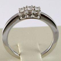 White Gold Ring 750 18K, Trilogy 3 Diamonds Carat Total 0.18, Shank Square image 4