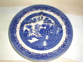 Old blue willow heavy divided plate Wm Adams staffordshire england w thu... - $30.00