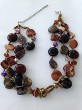 """earth tone necklace beaded19"""" stunning - $24.99"""