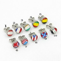surgical steel male earrings punk rock National flag stud earrings jewel... - $10.21