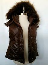 Gap Kids Girls Fur Hooded Vest Brown Water Resistant Size XS 4-5 years NWT - $26.99