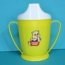 Tommee Tippee Teddy Bear Yellow Sippy Cup White Lid Vintage 1989 Playsko... - $12.95