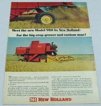 1966 Print Ad New Holland Model 980 Farm Combine 101 HP Sperry Rand - $10.50