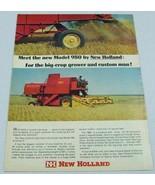 1966 Print Ad New Holland Model 980 Farm Combine 101 HP Sperry Rand - $10.50