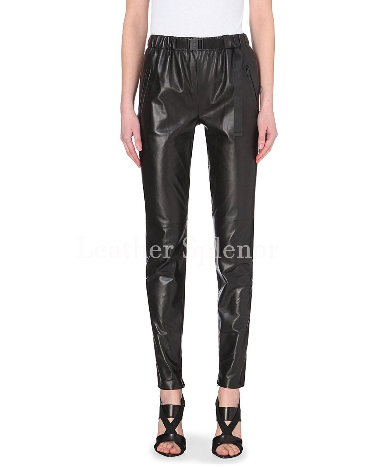 Elastic Waist Women Leather Track Pant