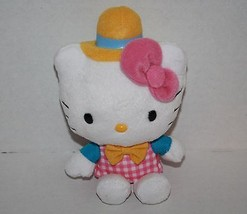 "HELLO KITTY 5"" Sanrio 2012 Soft Toy Small Plush Pink Cat Yellow Hat Bow Tie - $14.48"