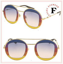 GUCCI 0105 Gold Blue Rainbow Pride Round Oversized Metal Sunglasses GG0105S - $336.60