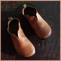 Scandinavian Norwegien Comfortable Soft Leather Slip On Rust Viking Turn... - $89.95