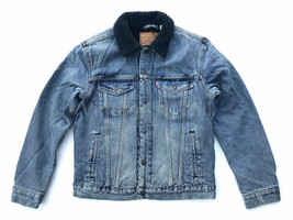 Levis Mens M Blue/ Navy Indigo Sherpa Denim Jean Trucker Jacket Big E Re... - $121.60