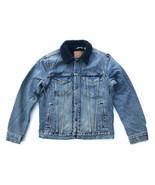 Levis Mens M Blue/ Navy Indigo Sherpa Denim Jean Trucker Jacket Big E Re... - $121.60
