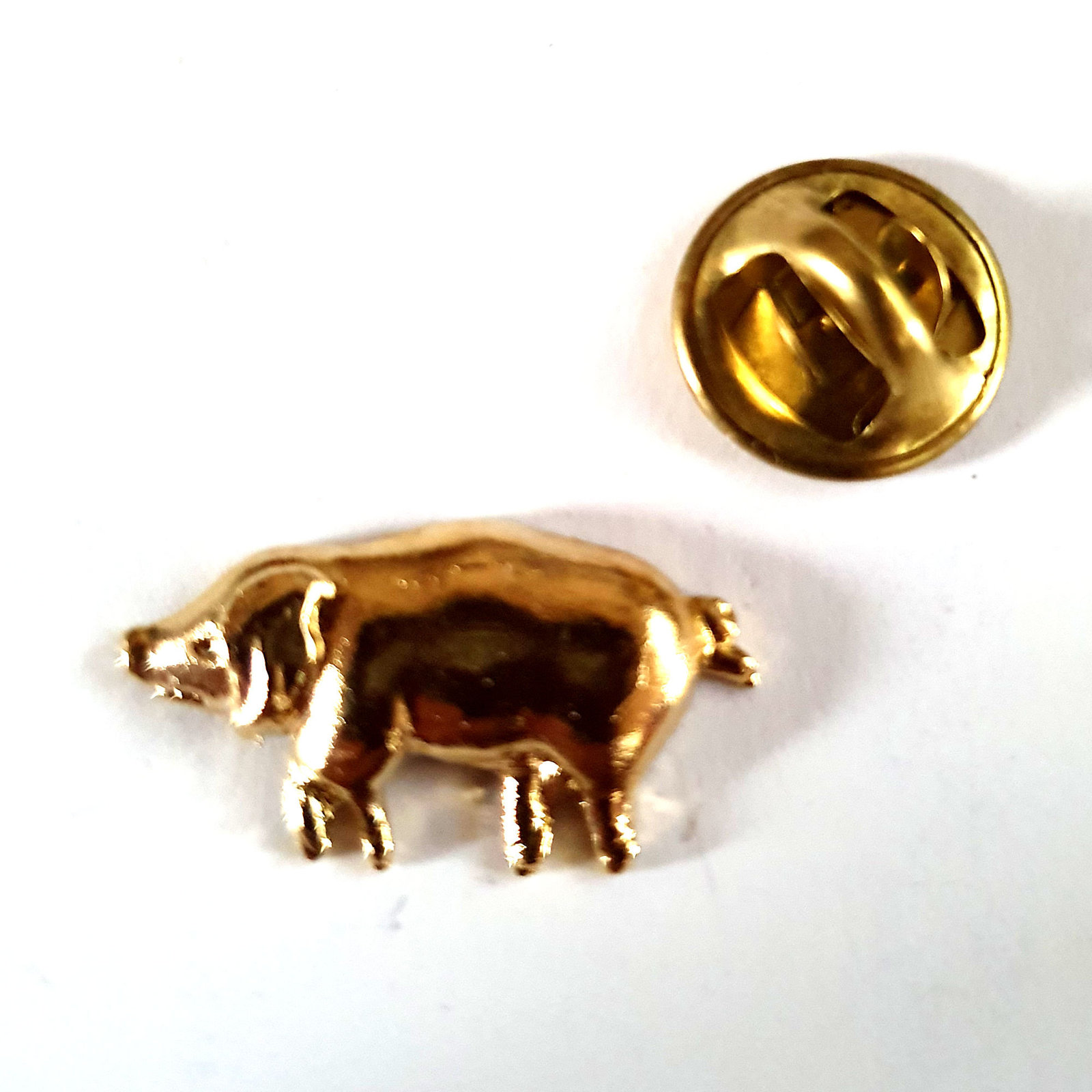 gold  pig Design pin badge, lapel badge in gift box animal, farm