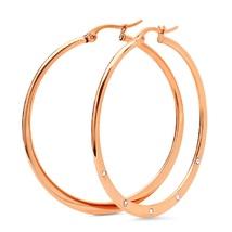 STEELTIME 18K Rose Gold Plated adorned with Swarovski crystals hoop earr... - $22.99