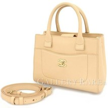 CHANEL Shopping Bag Small Calf Leather Beige Handbag A69929 Authentic 54... - $2,408.83