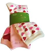 KATE SPADE New York SET OF 3 Trouser Socks Pink Cream Hearts ONE SIZE Fr... - $31.11