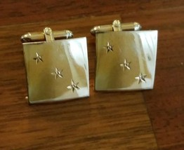 Vintage Swank Gold Tone Cufflinks Square Stars - $6.92