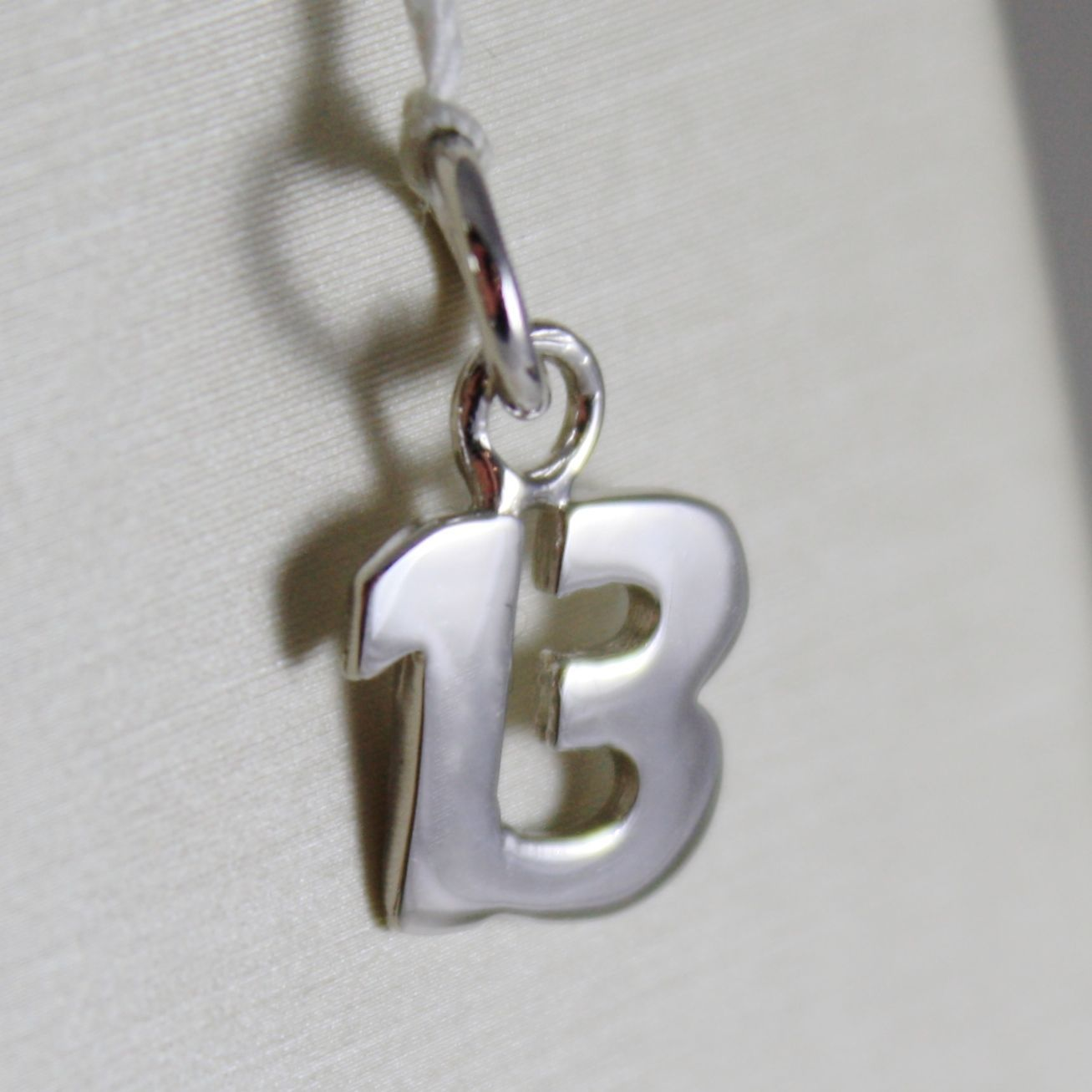 18K WHITE GOLD MINI 13 THIRTEEN PENDANT CHARM, LENGTH 0.59 INCHES, MADE IN ITALY