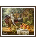 Autumn Harvest Still life with Fruits Grape Cross Stitch Pattern Chart PDF - $9.50