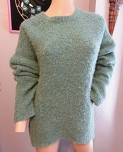 J Crew Curly Boucle Wool Alpaca High Low Oversized Teal Sweater S - $75.99