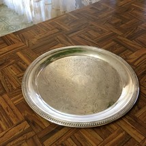 "Vintage 1883 F.B. ROGERS Silver Co Silverplate Round Ornate Tray 12 5/8"" - $16.82"