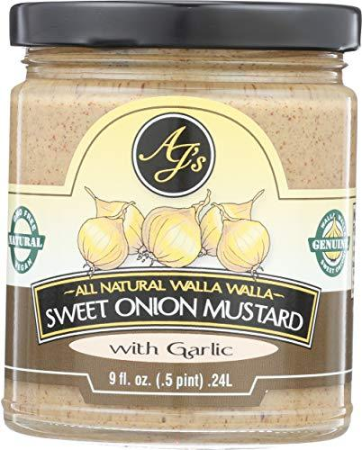 AJ's, Mustard Walla Sweet Onion With Garlic, 9 Ounce