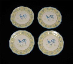 4 Martha Stewart Yellow Blue Rooster Scalloped Edge Dessert / Salad Plates NWOT - $34.99