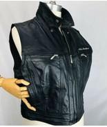Harley Davidson Woman's Leather Jacket Vest L Black Zip Up Collared Bar ... - $128.09