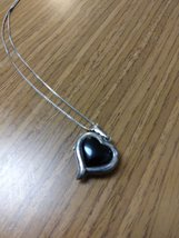 """20"""" Silver Chain Black Onyx/ Silver Reversible Heart Necklace Jewelry  image 3"""