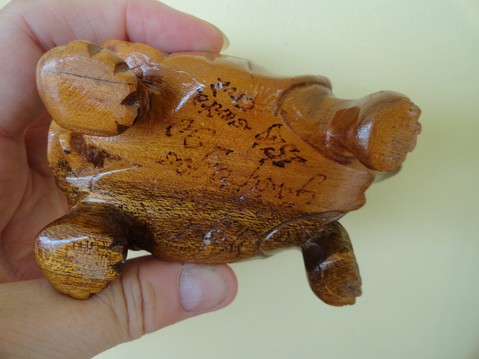 Tortoise Carving in Wood Brown Sculpture Galapagos islands 1990 Santa Cruz