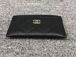 BNIB AUTH CHANEL 2019 BLACK QUILTED CAVIAR CARD HOLDER WALLET  image 3
