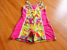 Size Large Future Star Capezio Pink Multi Colored Heart Print Biketard L... - $18.00