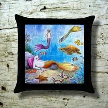 Cushion Cover Throw Pillow Case Cat Mermaid 31 Sea Turtle Ocean art L.Dumas - $23.99+