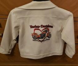 Vintage Childrens White Harley Davidson Leather Jacket 6x - $47.51