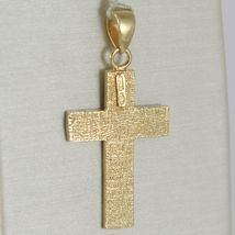 Cross Pendant Yellow Gold White 750 18K, Square & Carved, Made in Italy image 3