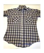 Men's Vintage Levi Strauss 80s 90s Pearl Snap Medium LS Plaid Shirt Blue... - $19.59